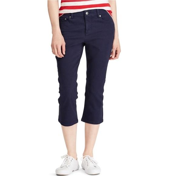 3a20f06119212 Chaps Navy Twill Capri Pants NWT Size 14